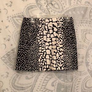 J. Crew Black & White Giraffe Print Mini Skirt